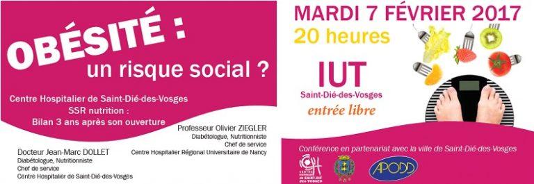 """Mardi 7 février 2017 à 20 heures à l'IUT de Saint-Dié-des-Vosges – Conférence : """"Obésité : Un risque social ?"""""""