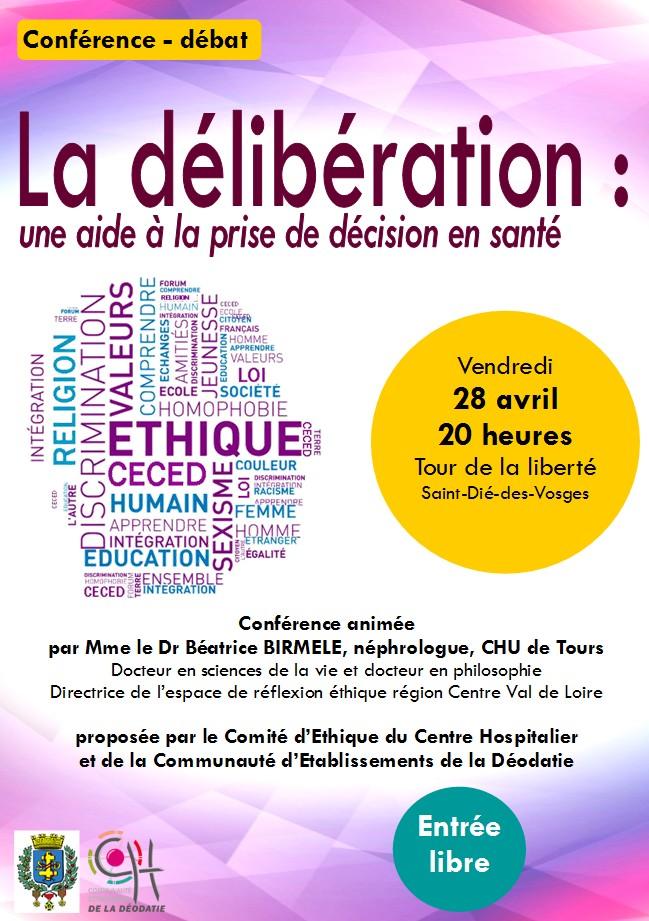 """Conférence – débat : """"La délibération : une aide à la prise de décision en santé."""""""