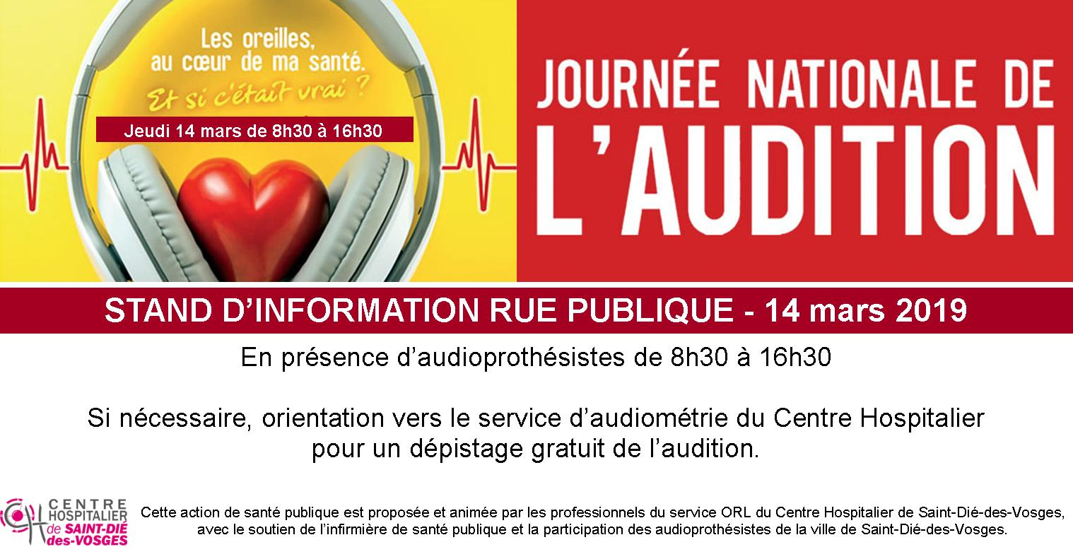 Jeudi 14 mars – Stand d'information dans le hall de l'hôpital : journée nationale de l'audition